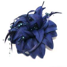 Accessoires de coiffure barrettes bleus en plumes pour femme