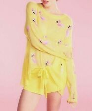 Wildfox Sweater Yellow Pink Flamingo Knit Lennon Roadie S Distressed Pullover