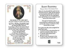 JESUS DIVINE MERCY LAMINATED PRAYER CARD - STATUES CANDLES PICTURES ALSO LISTED