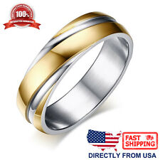 Men's Stainless Steel Gold and Silver Color Ring 6mm Comfort Fit Wedding Band