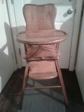 Vintage Maple Wooden Baby Feeding High Chair with footrest and adjustable tray