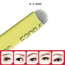 50x U Shape Microblading Eyebrow Tattoo Permanent Makeup Manual Blade 18 Needles
