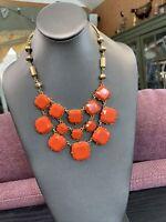 "Vintage Signed Stella And Dot Bohemian Orange  Statement necklace 18"" Gold Tone"