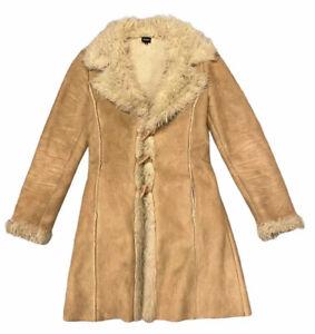 Truworths Faux Suede Fur Y2K Penny Lane Afghan Long Coat Jacket UK S (O)