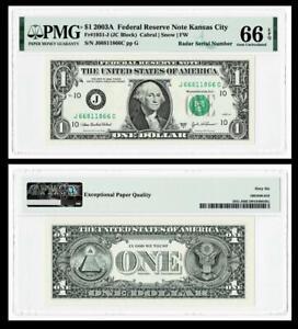 RADAR SERIAL # 66811866  2003A $1 Federal Reserve Note~PMG  GEM UNC 66 EPQ