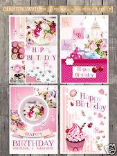 20 Geburtstagskarten, Klappkarten incl.Umschlag, 4 Designs
