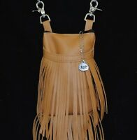 Hip Bag Western Tan Leather Double Fringe with Free X- Body Strap