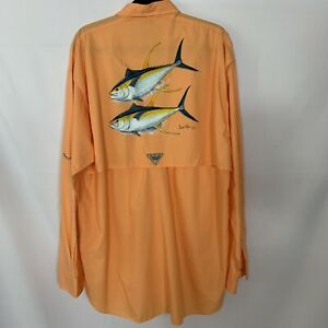 Columbia Men's PFG Fishing Shirt Size LT Tall Fish Print Art