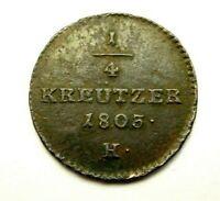 Habsburg Franz II (1792-1835) Günzburg 1/4 Kreuzer 1803 sehr schön