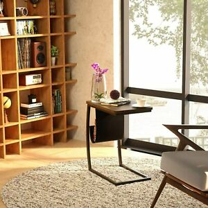 C-Shaped Coffee Table Bed Sofa Side End Table Laptop Notebook Desk Living Room