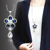 EP_ Women's Crystal Blue Flower Pendant Necklace Long Sweater Chain Jewelry Fash