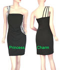 Princess Charm Size 6 8 10 12 14 16 18 Black Cocktail Dress One Shoulder New