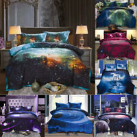 Galaxy Comforter Set Full Size Quilt 3D Digital Print 100% Microfiber 3Pcs