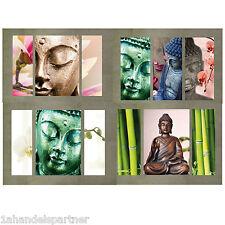 4x Wellness Buddha Wandbilder BAD Wohn Wand DEKO SET Kollektion Tafeln Budda Neu