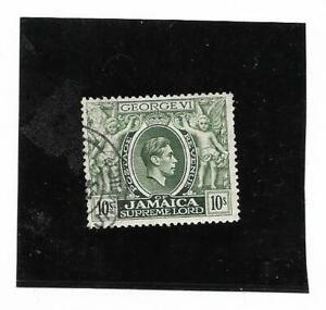 Jamaica King George VI 1950 10/- Myrtle Green SG 133aa Fine Used.