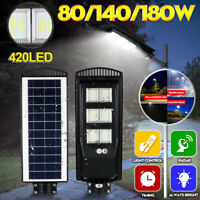 180W 420 LED Wall Street Light Solar Panel Remote Control Outdoor Garden Lamp