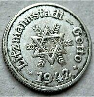 WW2 NAZI GERMANY ERA JUDE JEWISH 10 pfennig EXONUMIA COIN GETTO 1942 LITZMANNSTA