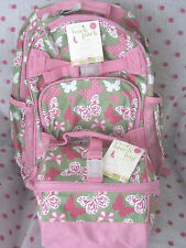 NEW Pottery Barn Kids SMALL Pink Butterfly Backpack  + RETRO LUNCH BAG RARE!