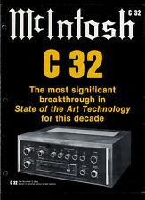 Rare Original Factory McIntosh C 32 Stereo Preamplifier Amp Dealer Brochure