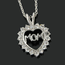 Mom Grandma Silver Rose Gold Rhinestone Heart Pendant Necklace Mother's Day Gift