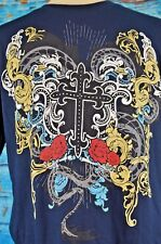 Alstyle men's Graphic T-Shirt Size Large Cross Paisley Pattern Colorful Cool L
