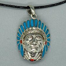 Chief 925 silver Pendant Biker Navajo Cherokee Apache Turquoise Coral Headdress