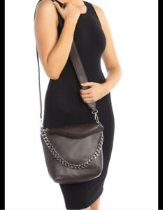 Steve Madden Banita Pebbled Chain Hobo Crossbody Bag Chocolate