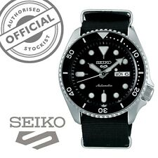 Seiko 5 Sports Steel Black Canvas Strap Automatic Mens Watch SRPD55K3 RRP £250