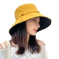 Women Bucket Hat Reversible Sun Hat UV Protection Detachable Cord Yellow Cap