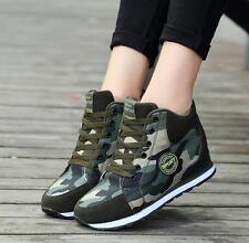 Women's Camo Canvas Hidden Wedge Heel Sneakers High Tops Platform Sports Ske15