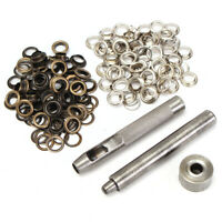 3x Eyelet Punch Die Tool Set and 100x Brass Eyelets - Hole Makers/ Leather Craft