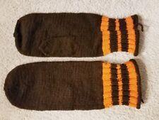 Vintage Handmade Knit Brown Orange Stripe Mittens