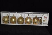 Set of Six 6 RAZ Imports Gold Glitter Small Elegant Christmas Balls Ornaments