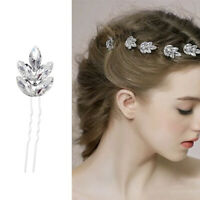 5Pcs Bridal Wedding Flower Crystal Diamante Rhinestones Pearls Hair U Clip Pins