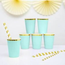 6 Mint Green and Gold Party Cups Birthday Party Cups Wedding Party Cups New Baby