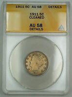 1911 Liberty V Nickel Coin 5c ANACS AU-58 Details Cleaned
