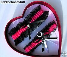 Elegant Double Heart Hot PINK / Black Garter / Prom
