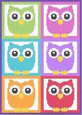 Crochet Patterns - OWLS & MORE OWLS! Color Graph Afghan Pattern SCRAP YARN