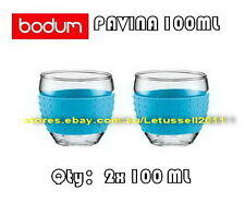 IN BOX BODUM PAVINA GLASSES WITH SILICONE SLEEVE x2 100ML (7 COLORS AVAILABLE)