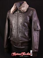 Men's B52 BOMBER Brown Harrington Fur Collar Skipper Leather Aviator Jacket