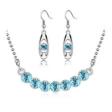 Diamante Ocean Blue Crystal Bridal Jewellery Set Drop Earrings Necklace S439