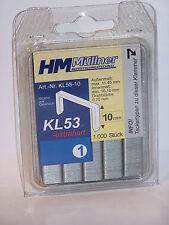 Tacker  Klammern  Typ 53   10mm      1000 Stück   Rücken 11,3  Draht 0,70mm