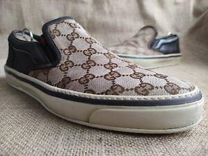 GUCCI GG Supreme Monogram Brown Canvas Sneakers Size US 9    EU 42