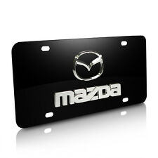 Mazda 3D Logo and Name on Black Stainless Steel Metal Auto License Plate