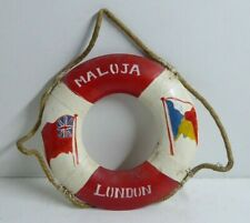 SS MALOJA STEAM SHIP SHIPPING LINER SOUVENIR LIFE BUOY RING WOODEN FRAME VINTAGE