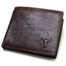 Mens Cowhide Leather Bifold Vintage Wallet Pures 2 Zipperd Pocket 2222