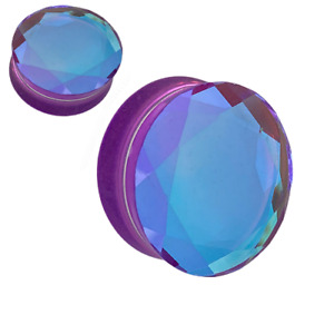 Ear gauges stretching plugs solid glass double saddle ear tunnels 2g -1 inch