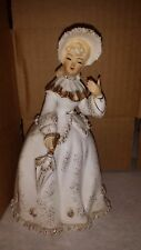 Lefton Figurine Woman White And Gold Spagetti Lace
