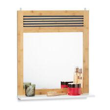 Badspiegel mit Ablage, Bambus Badezimmerspiegel, Wandspiegel verziert, Spiegel