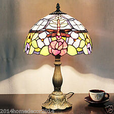 Red Dragonfly Tiffany Flowers Floral Styled Table Lamp 1 Lights Stained Glass